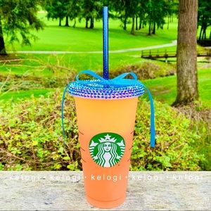 🎀NEW🎀Starbucks Apricot Color Changing Bling Cup